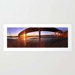 Sunset Panorama Below the Casco Bay Bridge Art Print