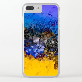 Blue and Summer Gold Circular Abstract Art Clear iPhone Case