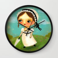 jane austen Wall Clocks featuring Jane Austen by tascha