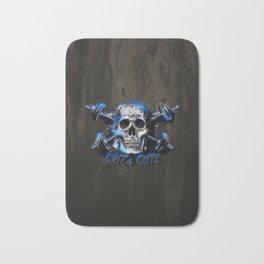 Grit and Guts Skull Neon Blue Bath Mat