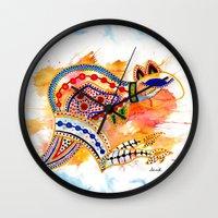 kangaroo Wall Clocks featuring Kangaroo by Armyhu