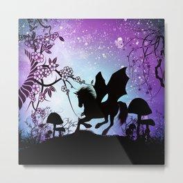 Beautiful black unicorn silhouette Metal Print