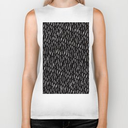 Dark Winter Night- White Strokes Lines on Black - Mix & Match with Simplicity of life Biker Tank