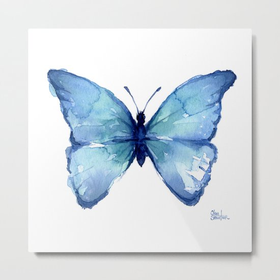 Blue Butterfly Watercolor Metal Print
