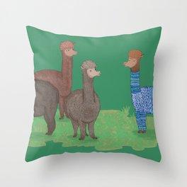 Show off alpaca Throw Pillow