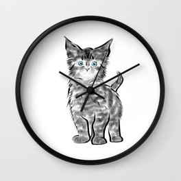 Scruffy Maine Coon Kitten Wall Clock