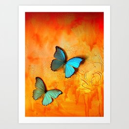 Blue Morphos on Mars Art Print