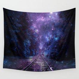 TRAIN tracks Purple Blue Wall Tapestry