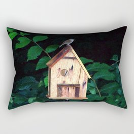 Little Wren on Birdhouse Rectangular Pillow