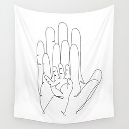 Family of Three Hands in One Line Art Wall Tapestry