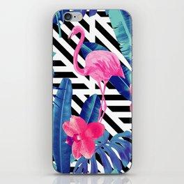 Tropical Pink Flamingo Pattern iPhone Skin