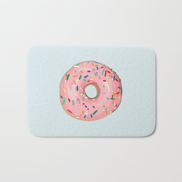 Strawberry Frost Donut Bath Mat