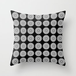 Black And White Flowery Daisy Pattern Throw Pillow