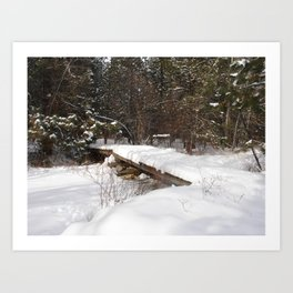#406 BR CK UNDER ICE FORMATIONS, BRIDGE, SNOW  POND CRK BEFORE 1931 WOOD, ROCKS, ICE  Art Print