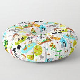 Cute Barnyard Farm Animals Pattern Floor Pillow