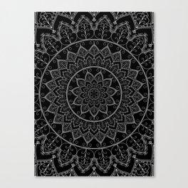Black and White Lace Mandala Canvas Print