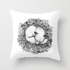 Fox Sleeping in Flowers Throw Pillow