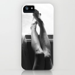 digital photo photography legs window figure woman black and white iPhone Case
