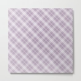 Dark Chalky Pastel Purple and White Tartan Plaid Check Metal Print