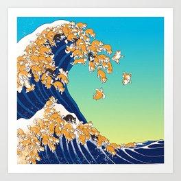 Shiba Inu in Great Wave Art Print