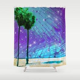 Venice Vaporwave Beach Meteor Light Show Shower Curtain
