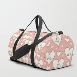 Vintage chic pastel pink romantic love birds hearts pattern Duffle Bag