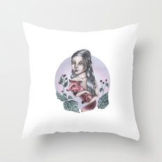 Girl with fox Throw Pillow