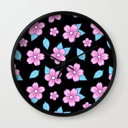 Sakura // Black Wall Clock