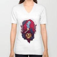 raven V-neck T-shirts featuring Raven by Megan Lara