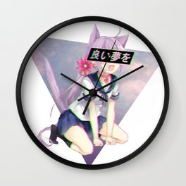 CAT GIRL NEKO GLITCH - SAD JAPANESE ANIME AESTHETIC Wall Clock