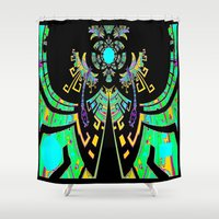 malachite Shower Curtains featuring Aztec Malachite Dragon Calender by SharlesArt