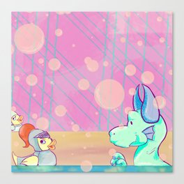 Bubble Bath Dragon Clock Canvas Print