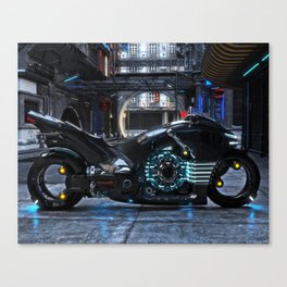 Futuristic light cycle on display Canvas Print