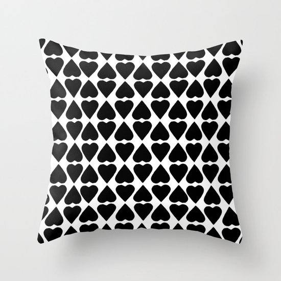 Diamond Hearts Repeat Black Throw Pillow