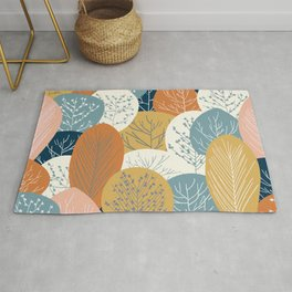 Forest Woodland Trees, Blue, Terracotta and Yellow, Floral Prints Rug