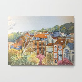 Brussels: neighborhood in Forest area. Metal Print