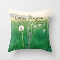 jane austen Throw Pillows featuring Happiness Jane Austen by KimberosePhotography