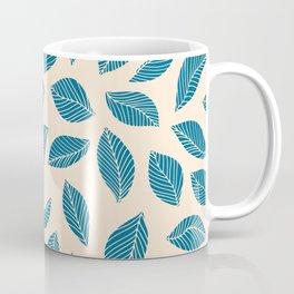 Falling Leaf: Blue and Ivory botanical leaves pattern Coffee Mug