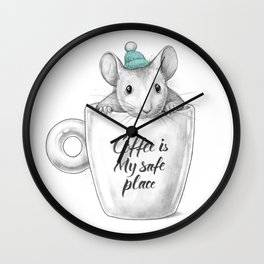 Coffee is my safe place Wall Clock