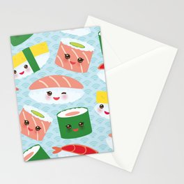 pattern Kawaii funny sushi rolls set with pink cheeks and big eyes, emoji Stationery Cards
