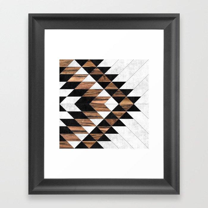 Urban Tribal Pattern No.9 - Aztec - Concrete and Wood Gerahmter Kunstdruck