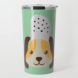 cute doggo with croc on the head - green Travel Mug