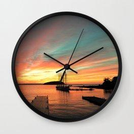 Autumn Sunrise Bar Harbor maine Wall Clock