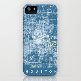 HOUSTON Map Texas | Blue & Yellow | More Colors, Review My Collections iPhone Case