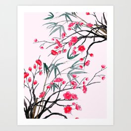 bamboo and red plum flowers in pink background Art Print