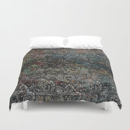 Burned Color  Paisley Pattern on  Wood Duvet Cover