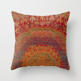 Bohemian Medallion VI // 15th Century Old Distressed Red Green Blue Coloful Ornate Rug Pattern Throw Pillow