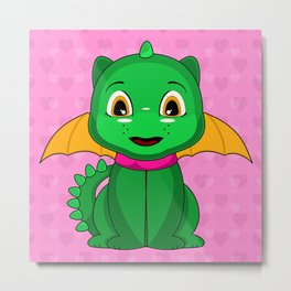 Green And Orange Chibi Dragon Metal Print