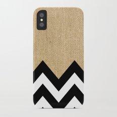 BURLAP BLOCK CHEVRON iPhone X Slim Case