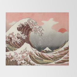 Japanese red sunset tsunami Throw Blanket